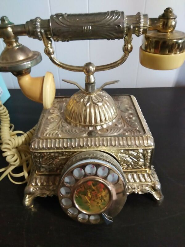 Vintage Rotary Retro Victorian Telephone Antique Brass Metal Gold silver Look!!