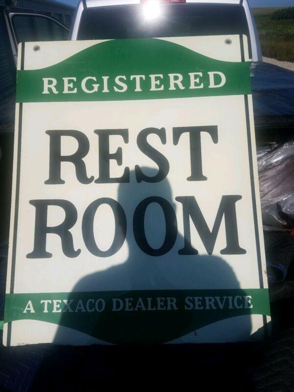 VINTAGE TEXACO Service gas Station registered Restrooms Advertising metal Sign
