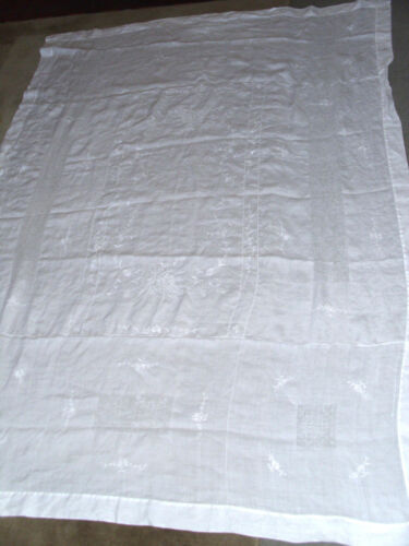 """Large Antique Swiss Appenzell Linen White Tablecloth 62"""" x  85"""""""