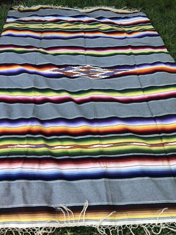 Original Vintage Mexican Saltillo Serape Blanket Throw  92 X 65. Wool ? Linen?