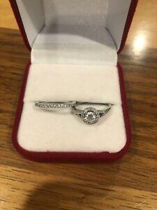 Platinum Wedding Ring Set - 1/4ct solitaire