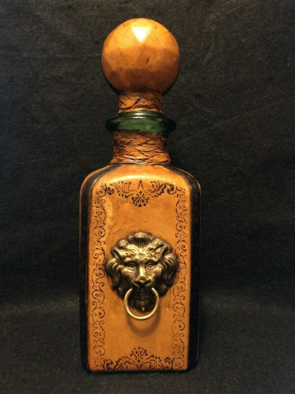 LEATHER WRAPPED VINTAGE GREEN GLASS LION WINE BOTTLE DECANTER /STOPPER ITALY