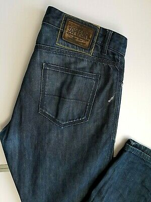 SUPERDRY MENS JEANS W34 L34 BLUE BUTTONS STRAIGHT