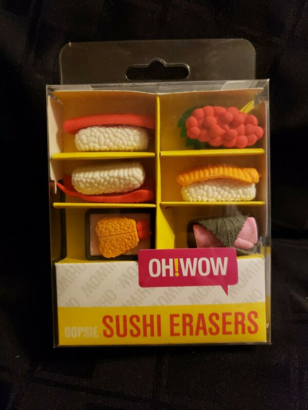 Oh!WOW  Japanese Oopsie Sushi Erasers 6pcs NIB Round 1 Cute Gift