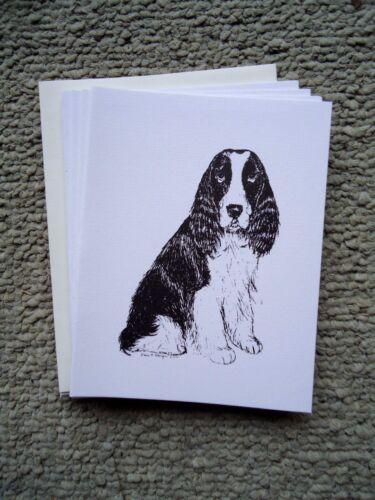 Springer Spaniel Dog 18 Blank Notecards with Linen Style Envelopes New