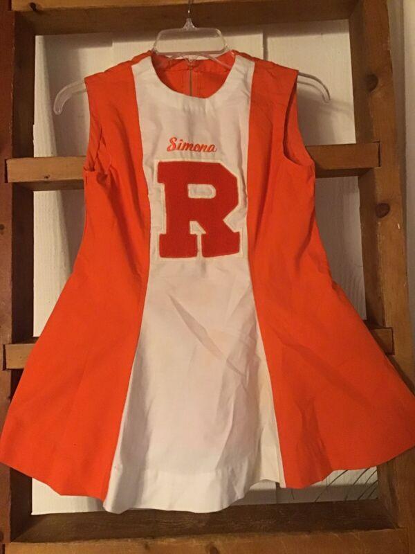 Vintage Cheerleader Dress Outfit Dance Orange Mini Sz Xs/s Varsity Euc