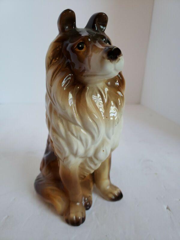 Collie Dog Figurine Sitting Tri-Color High Gloss Ceramic Porcelain Vintage