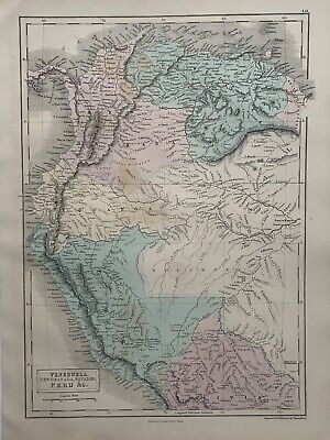 1854 Venezuela Colombia Ecuador Peru Hand Coloured Original Antique Map