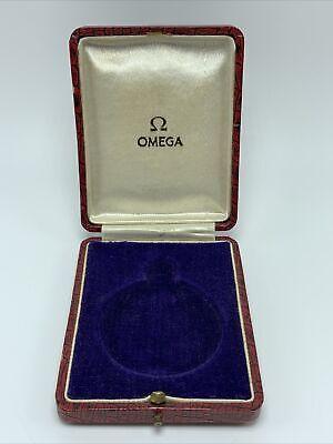 Vintage Omega Pocket Watch Presentation Box Red (BOX ONLY) Blue Suede