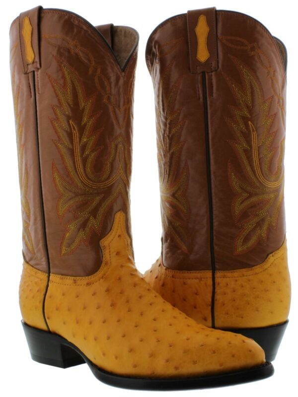 mens, yellow, butter, real, ostrich, skin, crocodile, leather, western, cowboy, boots