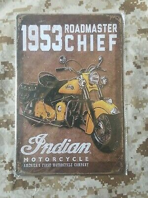 Indian Motorcycle 1953 Roadmaster Chief Tin Sign Wall Décor Retro Style Garage