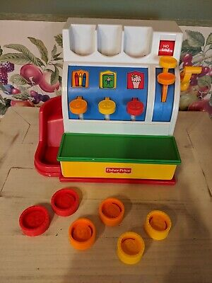 1994 FISHER PRICE TOY CASH REGISTER COMPLETE w/ 6 COINS & Working BELL