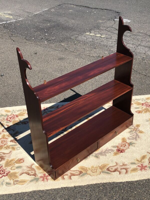 Bartley Collection Mahogany Whale Back Two Drawer Hanging Shelf