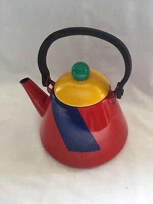 Retro 1970s 80s  Pitch Honey Ware Japan Abstract Colour Enamel Tea Pot Kettle