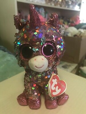 """Ty FLIPPABLES: SPARKLE -Shiny Pink/Silver Sequined Unicorn 6"""" Beanie Boo! *RARE*"""