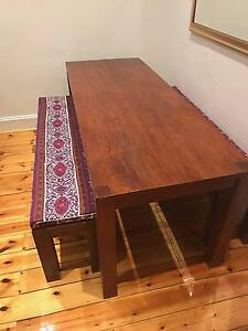 Hardwood dining table with benches and funky cushions North Adelaide Adelaide City Preview