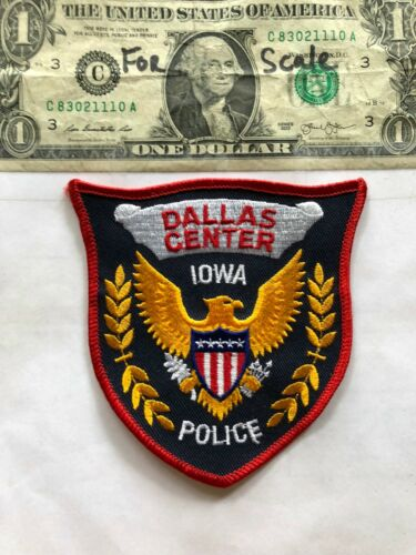 Rare Dallas Center Iowa Police Patch Un-sewn great shape