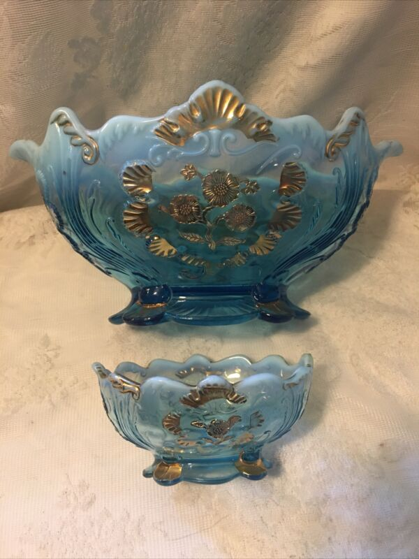 RARE Northwood Blue Opalescent Everglades/Carnelian 1903 Master + Berry Bowl
