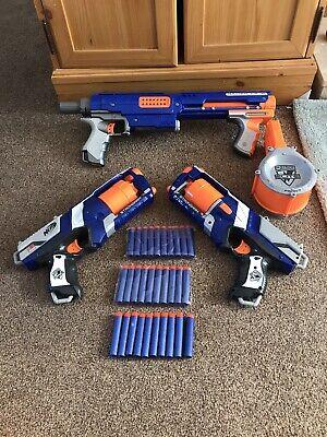 Nerf 4 Gun Bundle Raider CS-35 With Drum 2x Blue Strongarm Jolt Pistol & Ammo
