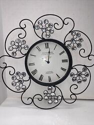 "Edinburgh Wall Clock Metal Black Scroll Crystals Flower-shaped England 18"""