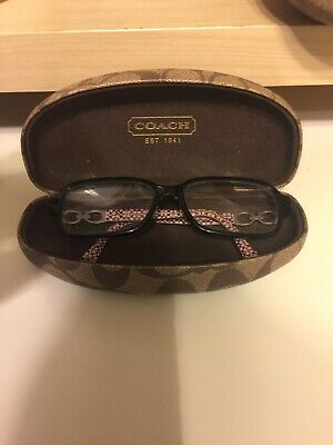 RX Coach Eye Glasses Black Frames W/ Pink Arms & W/Signature C Clam Shell Case