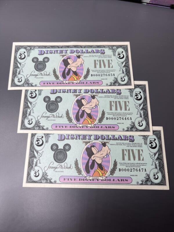 1990 D $5 Disney Dollar Bill Goofy Uncirculated Low 5 Digit Lot Of 3 ConSecutive