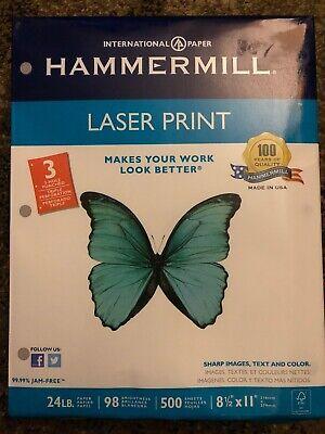 Hammermill Laser Print Paper 3-hole Punch 98 Brightness 24lb Ltr White - New