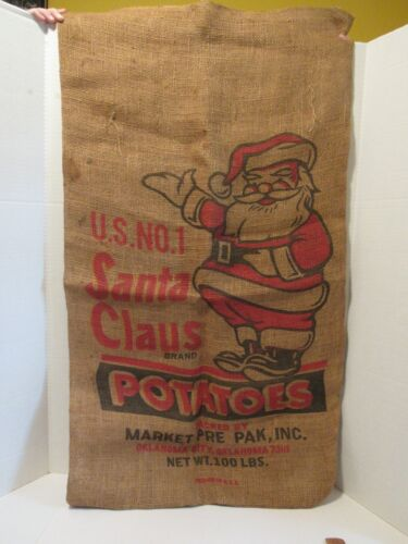 Vintage SANTA CLAUS BRAND POTATO 100lb Empty Burlap Sack