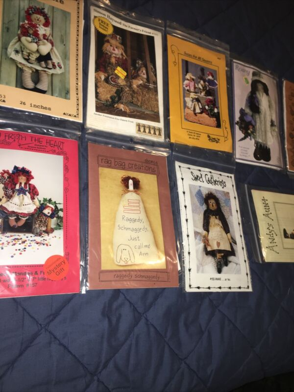lot of 9 craft doll Country pattern instructions