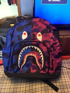 Bape shark face camo backpack