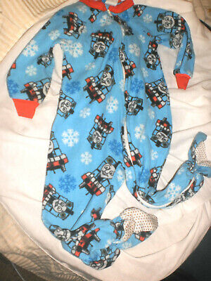 Kids Children's Place Sz 2T full front zip Footed THOMAS & FRIENDS deco Pajamas