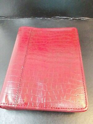 Franklin Covey Compact Binder Red 6 Ring Zip Around