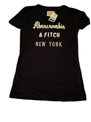 BNWT Abercrombie Fitch Navy White Classic Font Women T Shirt Size Small