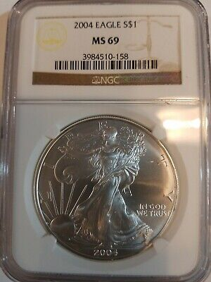 2004 MS69 American Silver Eagle, NGC Brown Label, FREE SHIPPING