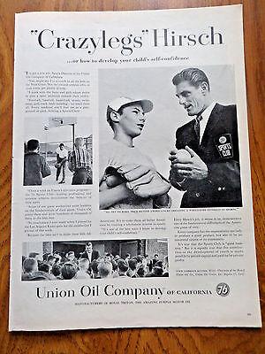 1958 Union Oil 76 Ad  Crazylegs Elroy Hirsch NFL Football Running Back