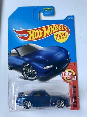 2017 HOT WHEELS 1/64 HW THEN AND NOW 3/10 BLUE '95 MAZDA RX-7  #336/365