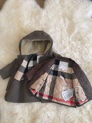 AUTHENTIC BABY BOY GIRL BURBERRY KIDS HOODED PARKA & CHECK JACKET COAT 2 SET 12M