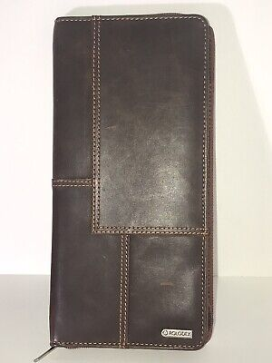 Rolodex Organizer Businesscredit Card Holder Brown Leather 48 Slots Zips