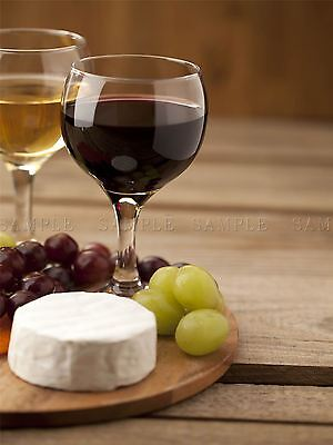 PHOTO COMPOSITION WINE CHEESE GRAPES BOARD RED WHITE DRINK POSTER PRINT BMP10203 - Red Poster Board