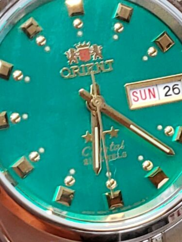 ORIENT 3 STAR MAN AUTOMATIC 21 JEWELS GREEN DIAL#FAB00009N9