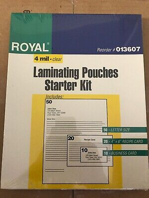 Royal Laminating Pouches (Royal 4 mil Clear Laminating Pouches Starter Kit 50 Count)