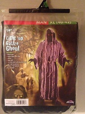 NWT Fun World Mens/Adult Light-Up Gauze Ghoul Fancy Dress Costume Sz XL (40-42)