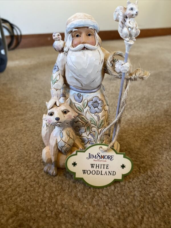 Jim Shore Heartwood Creek White Woodland Santa with Fox Stone Resin Figurine ...