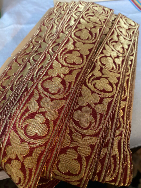 ANTIQUE/VINTAGE FRENCH GILT BULLION AND RED WOVEN TRIM: 20 Yds.