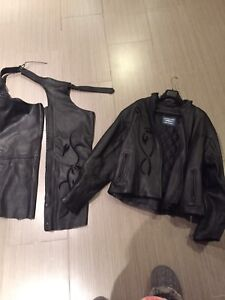 Leather Jacket and Chaps ladies new  never won