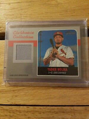 2019 Topps Heritage Yadier Molina Game-Used Jersey Card! Cardinals Card.