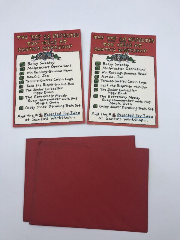 Vtg Hallmark The Top 10 Rejected Toy Ideas At Santa's Workshop Chrismas Cards