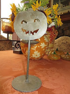 Halloween Decor Arty Metal Crafted Jack O Lantern Tea Light Holder Silver Finish (Arti Halloween)