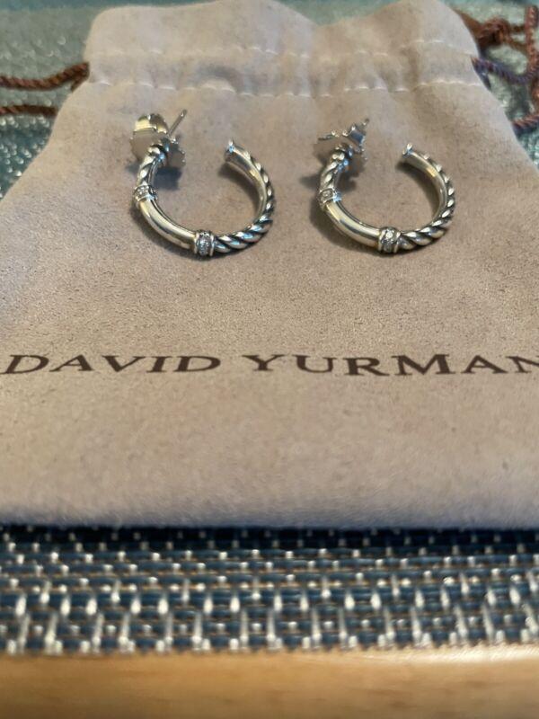 David Yurman Metro Sterling Silver Cable Hoop Earrings w/ Diamonds