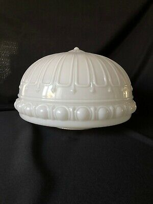 "Large Vintage Ornate Milk Glass Ceiling Fixture Shade 6"" Fitter Large Ceiling Fixture"